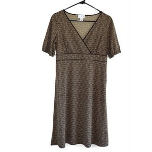 Loft Faux Wrap Brown Knit Dress Travel 4 T3